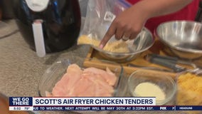 Scott Williams is using an air fryer to cook chicken tenders in Cooking Up a Storm
