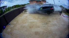 SUV crashes through South Florida backyard, flies across pool