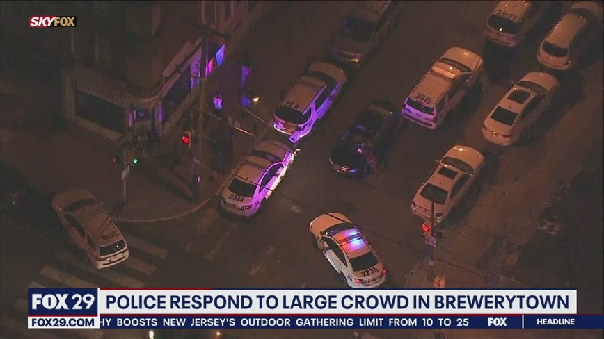 Police respond to a large crowd in Brewerytown