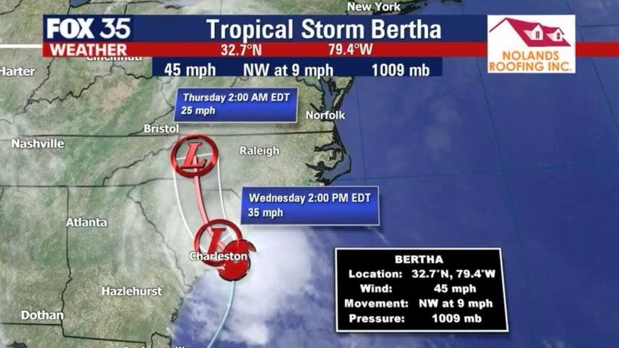Tropical Storm Bertha forms near coast of South Carolina