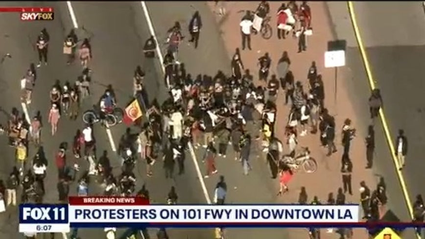Massive Black Lives Matter protest underway in downtown LA