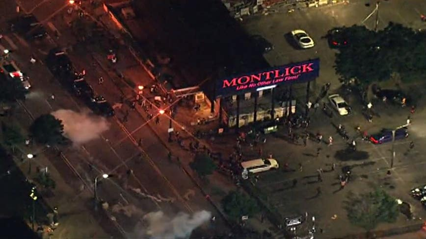 Demonstrators clash with Atlanta police in violent protest against death of George Floyd