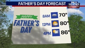 Weather Authority: Partly sunny Father's Day with chance of afternoon showers