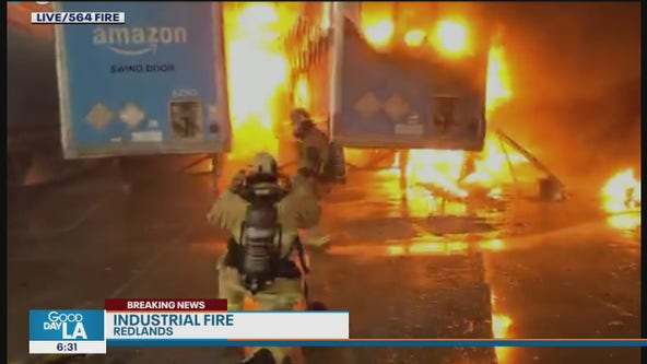 Massive fire ignites at Amazon distribution center in Redlands
