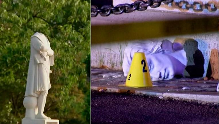columbus statue beheaded in boston