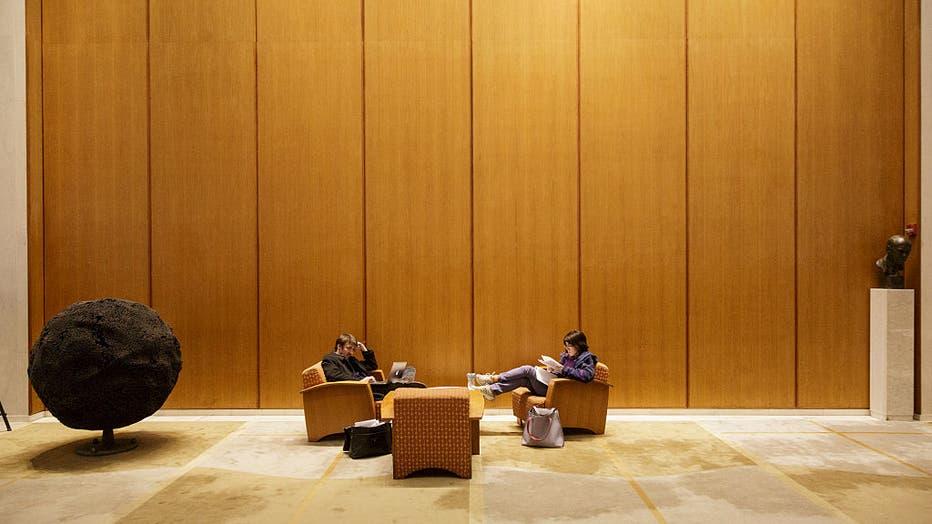lobby of the Woodrow Wilson School of Public and International Affairs at Princeton University.