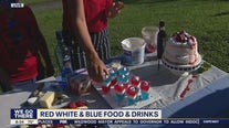 Red, white, and blue food and drinks