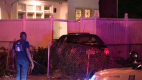 Car nearly collides with home on Roosevelt Boulevard in multi-vehicle accident