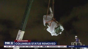 Christopher Columbus statue removed overnight from Grant Park