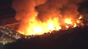 Fire burns into the night at Salem County chicken farm