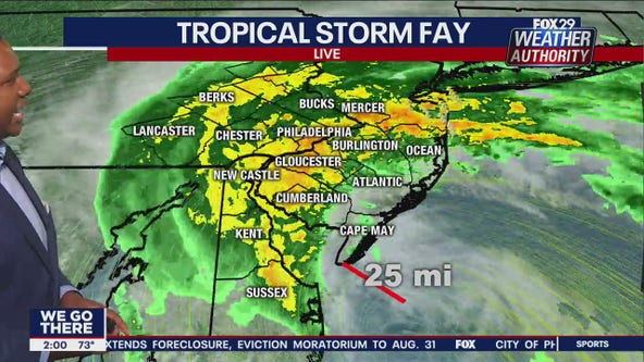 Heavy rain moves inland as gusty Tropical Storm Fay nears Jersey Shore