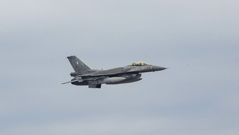 F16 Fighter Jets Fly Over Thessaloniki City