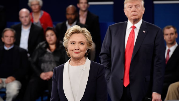 f812bb23-Candidates Hillary Clinton And Donald Trump Hold Second Presidential Debate At Washington University