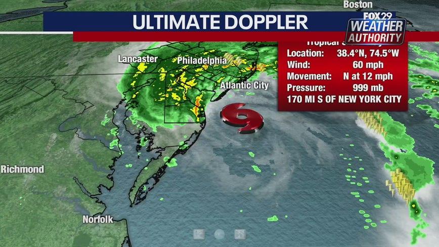 Tropical Storm conditions, heavy rain spreading northward along coast