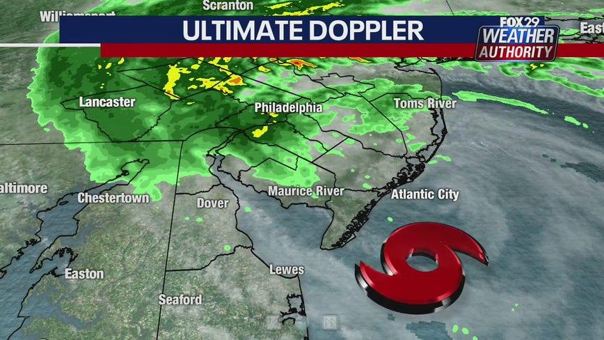 Heavy rain moves inland as gusty Tropical Storm Fay nears Jersey Shore