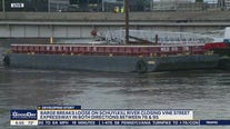 Unsecured barge wedges under bridge closing on Vine Street Expressway