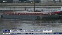 Unsecured barge wedges under bridge closing on Vine Street Expressway
