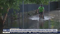 Schuylkill River overflows during tropical storm causing flooding