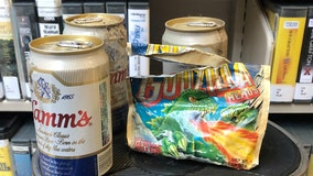 Stash of beer and chewing gum found among 1970s era library shelving