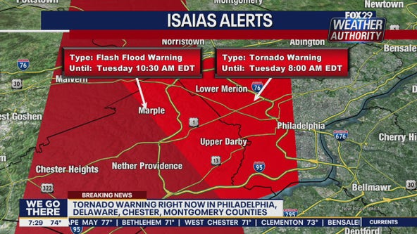 Tornado warnings issued for parts of Philadelphia, suburban counties