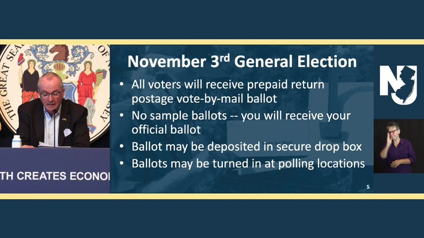 New Jersey to mail all voters ballots for Nov. election, still offer in-person option