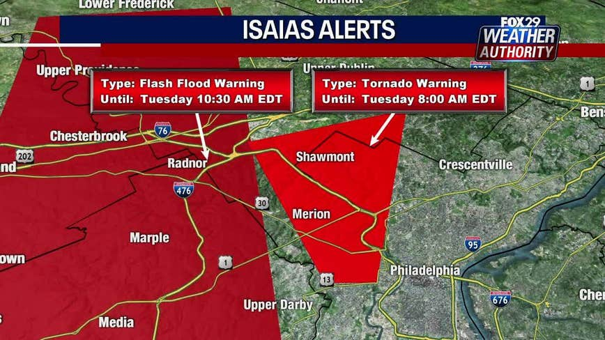 Tornado warnings expire in Philadelphia, suburban counties, new warning issued in Del.