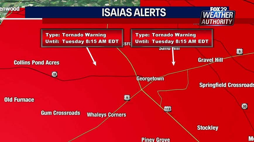 Tuesday morning storms bring flooding rain, tornado warnings as Isaias approaches