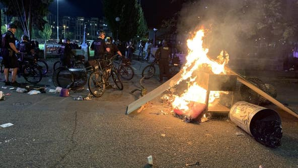 Seattle police arrest 10 after fires set during Saturday protests