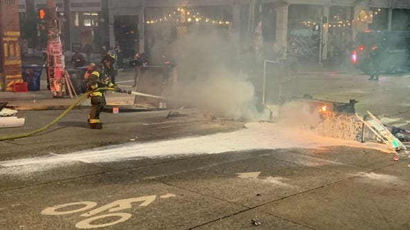 Seattle police arrest 7 after fires set during Saturday protests