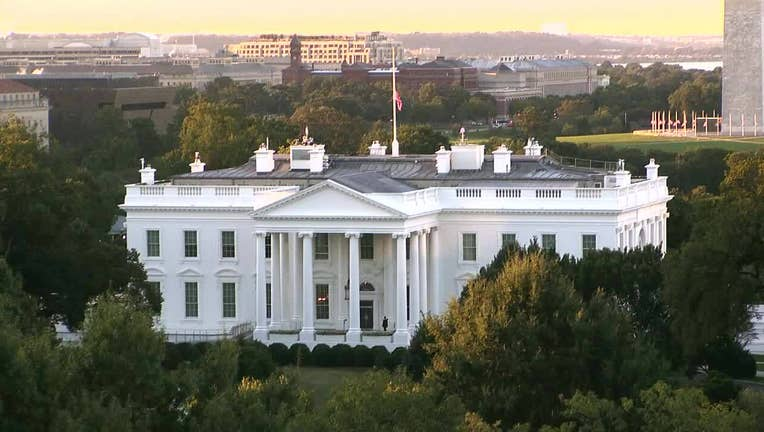 The US flag flies at half-mast above the White House in Washington, DC, on September 19, 2020 after the passing of US Supreme Court Justice Ruth Bader Ginsburg. - Ginsburg died September 21, 2020.
