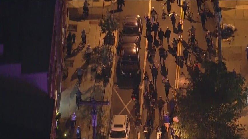 Demonstrators marching in Philadelphia following Breonna Taylor grand jury decision