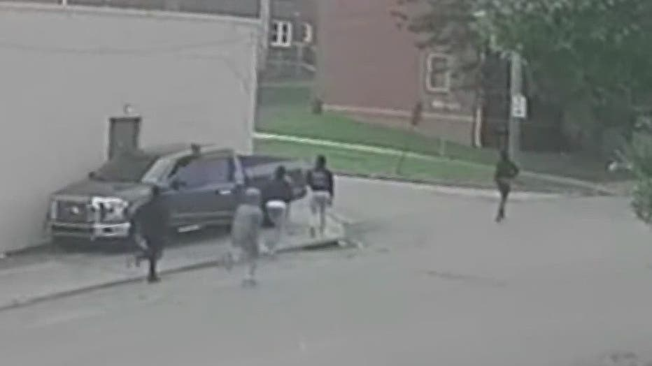 Surveillance video recovered from the area shows a group of suspects exiting a gray Dodge Durango with a temporary Delaware tag.