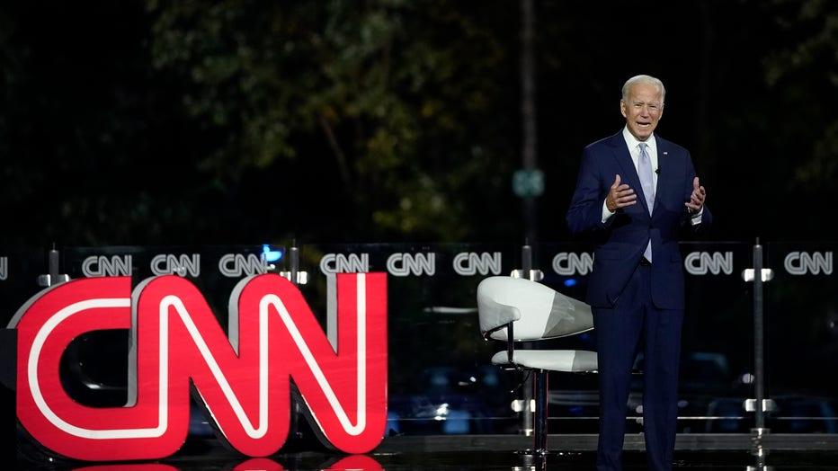 Joe Biden speaks at a town hall near Scranton