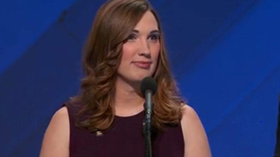 Transgender activist Sarah McBride speaks at the 2016 Democratic National Convention.