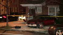 Officials: Woman injured after slamming car into home in West Philadelphia