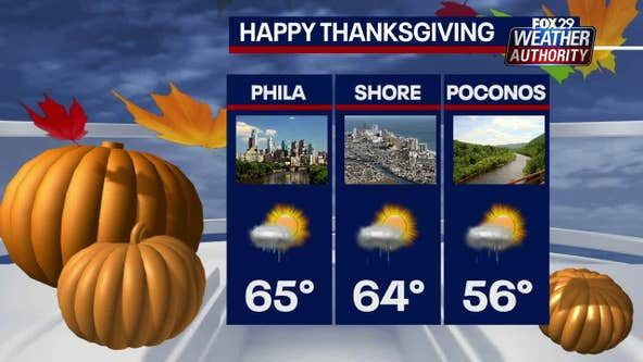 Weather Authority: Morning showers, mild temperatures expected Thanksgiving Day