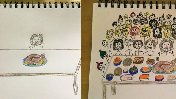Woman invites those 'feeling lonely' to virtual Thanksgiving dinner by drawing them at her table
