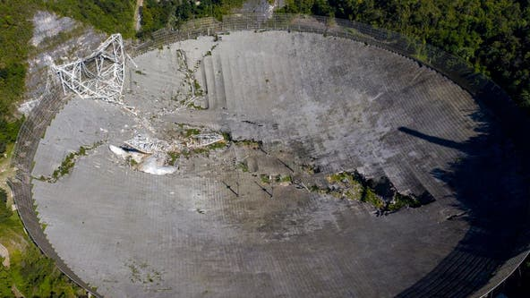 Video shows Arecibo Observatory cables snapping, triggering collapse