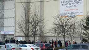Long lines seen outside Burlington County COVID-19 vaccine megasite