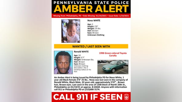 Amber Alert issued for 1-year-old girl last seen in Philadelphia Tuesday morning