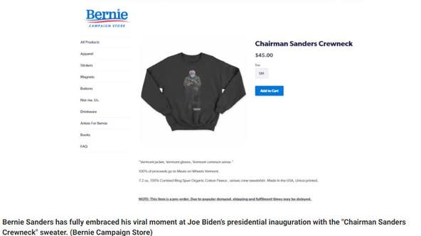 Bernie Sanders' mittens meme merch helped raise $1.8M for charity