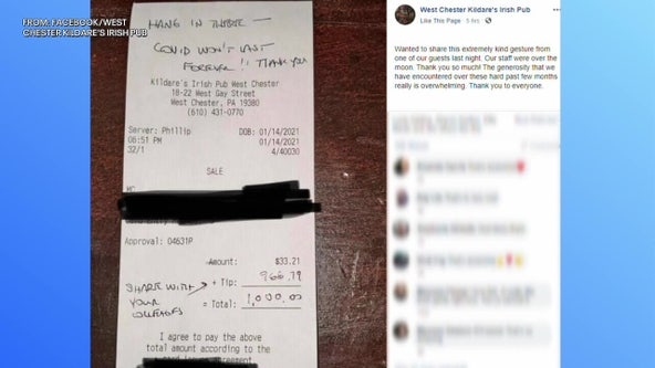 Customer leaves $966 tip at Kildare's Irish Pub in West Chester