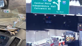 I-95 North closed at Washington Avenue after tractor-trailer overturns