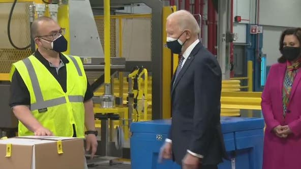 President Joe Biden visits Pfizer plant in Portage, Michigan