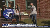 Good Day celebrates Steve Keeley's 25th Anniversary at FOX 29 with snow plow cake