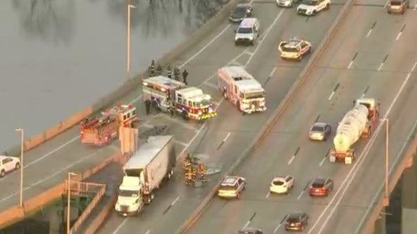 Walt Whitman Bridge shut down due to truck fire