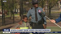 Delaware State Trooper goes viral after giving pair of Steph Curry sneakers to local kid