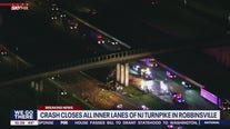 Crash closes all northbound inner lanes of NJ Turnpike in Robbinsville