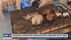 Making desserts wrapped in bacon with Groark Boys' BBQ