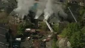Massive fire rips through apartment building in West Windsor Township, New Jersey